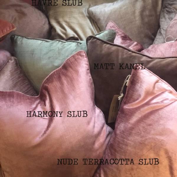 cushion cover Velvet slub Nude terracotta
